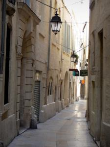Montpellier - Narrow street of the old town lined with houses, lampposts