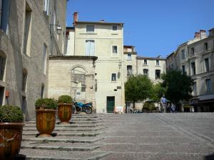Montpellier - Sainte-Anne square, shrubs in jars, café terrace and houses of the old town
