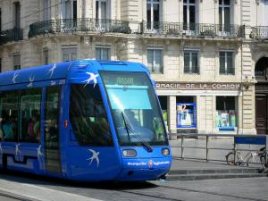 Montpellier - Streetcar and building of the city