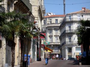 Montpellier - Palm trees, shops and buildings of the city