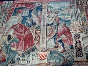 Montpezat-de-Quercy - Inside Saint-Martin collegiate church: Tapestry (Flemish hanging from Flanders): episode in the life of St. Martin - miracles of Trèves