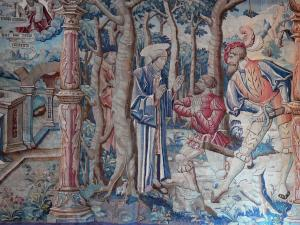 Montpezat-de-Quercy - Inside Saint-Martin collegiate church: Tapestry (Flemish hanging from Flanders) episode in the life of St. Martin: crossing the Alps and robbers