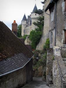Montrésor - Sloping narrow street of the village, houses and the Renaissance château