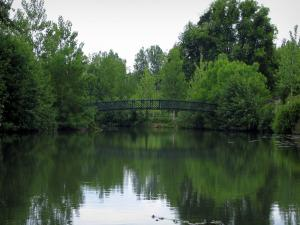 Montrésor - Bridge spanning the River Indrois and trees along the water