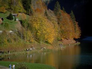 Montriond lake - Shore with walkers, lake and trees in autumn in Haut-Chablais