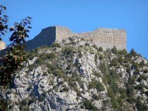 Montségur castle - Cathar fortress (remains, ruins) and its rocky outcrop (pog)