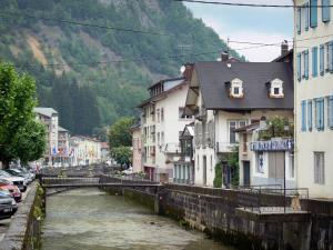 Morez - Bienne river, houses and buildings of the city; in the Upper Jura Regional Nature Park