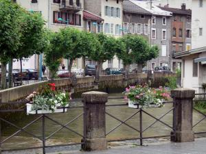 Morez - Rail decorated with flowers, Bienne river, line of trees, houses and buildings of the city