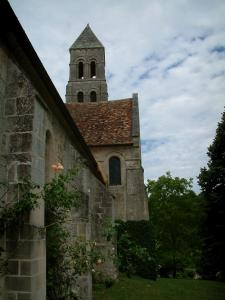 Morienval church - Abbey church with one of its tower, a rosebush (roses) and trees
