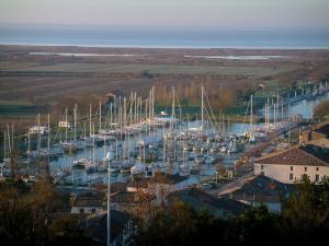Mortagne-sur-Gironde - From the village, view of boats and sailboats in the port, houses, marshes and the Gironde estuary