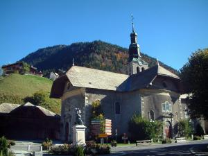 Morzine - Church of the village (winter and summer sports resort), meadow and forest, in Haut-Chablais