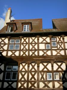 Moulins - Facade of a half-timbered house in the old town