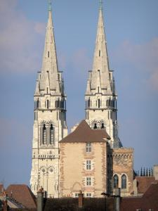Moulins - Steeple of Notre-Dame cathedral and Mal Coiffée keep (Mal Coiffée tower)