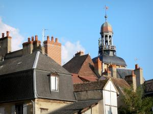 Moulins - Cupola of the clock tower (belfry, Jacquemart) and roofs of the old town