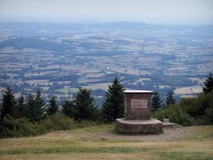 Mount Beuvray - Morvan Regional Nature Park: viewpoint indicator at the top of the mount Beuvray with view (panorama) on the landscapes of Morvan