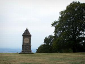 Mount Beuvray - Morvan Regional Nature Park: monument to the memory of Jacques-Gabriel Bulliot, at the top of the mount Beuvray