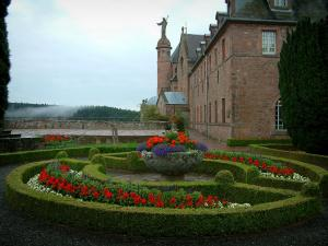 Mount Sainte-Odile - Convent terrace (monastery) decorated with flowerbeds and flowers