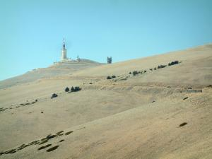 Mount Ventoux - Peak of the mount Ventoux (limestone mountain), its bare hillsides covered with white stones