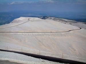 Mount Ventoux - Bare hillsides of the mount Ventoux (limestone mountain) covered with white stones