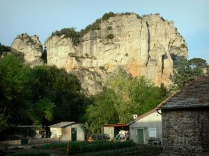 Mourèze rock formations - Dolomite rock formations: cliffs, trees and houses