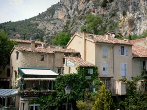 Moustiers-Sainte-Marie - Houses of the village at the foot of the cliff