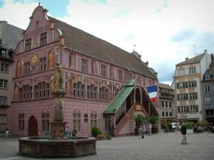 Mulhouse - La Reunion Square with its fountain, its town hall (painted facade) and its old houses