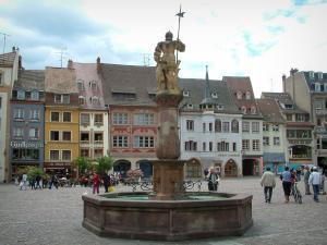 Mulhouse - Fountain and old houses of the La Reunion square