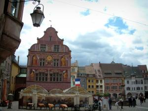 Mulhouse - La Reunion Square with a café terrace, the town hall and old houses