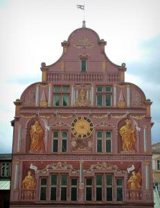 Mulhouse - Painted facade of the town hall (building of the Rhenish Renaissance)