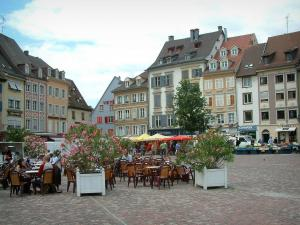 Mulhouse - La Reunion square with a café terrace, a market and old houses