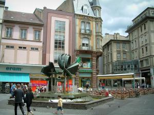 Mulhouse - Square with fountain, café terrace, shops and buildings