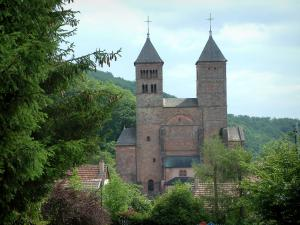 Murbach abbey - Romanesque church with pink sandstone, trees and houses roofs