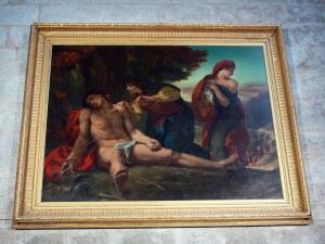Nantua church - Inside the Saint-Michel abbey: painting by Eugene Delacroix: The Martyrdom of St. Sebastian