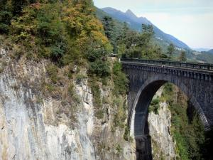 Napoléon bridge - Arch of the bridge spanning the River Gave de Gavarnie, rock walls of the gorge and trees