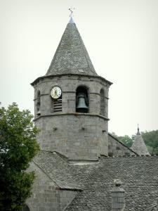 Nasbinals - Octagonal tower of the Sainte-Marie Romanesque church; in the heart of Lozèrian Aubrac
