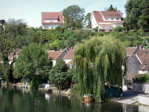 Nemours - Banks of the River Loing, houses and trees along the water