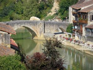 Nérac - Old bridge spanning the Baïse river, trees and houses of the old Nérac medieval town