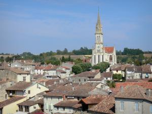 Nérac - Notre-Dame church, trees and rooftops of the medieval town