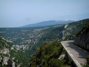 Nesque gorges - Canyon road, the rock faces and the mount Ventoux in background