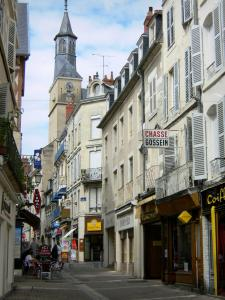 Nevers - Facades and shops of the Rue François Mitterrand street, belfry tower overlooking the place