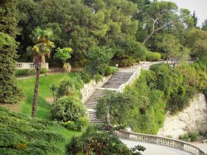 Nîmes - Fontaine garden (park): trees, shrubs, palms and stairs