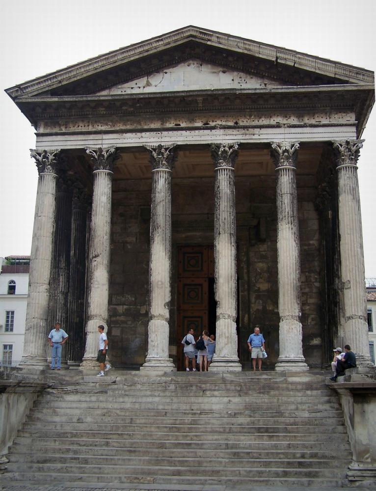 Nîmes   Portico Of The Square House (Maison Carrée) With Its Columns Topped  By