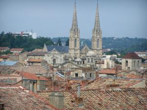 Nîmes - View of the rooftops of the old town and the two bell towers topped with the steeples of the Saint-Baudile church