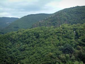 Noire (Black) mountain - Parched village of Hautpoul and hills covered with forests (Upper Languedoc Regional Nature Park)