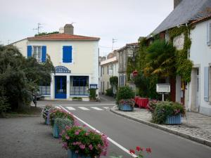 Noirmoutier island - Noirmoutier-en-l'Île: street lined with flowers and houses of the city