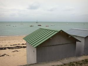 Noirmoutier island - Cubicles, Dames beach (sandy beach), boats on the sea (Atlantic Ocean)