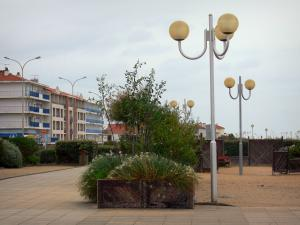 Notre-Dame-de-Monts - Seaside resort: lampposts, shrubs and buildings