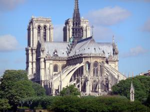Notre-Dame de Paris cathedral - View of the apse of the Gothic cathedral
