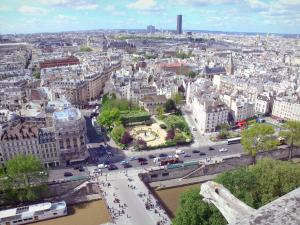 Notre-Dame de Paris cathedral - Panoramic view of Paris from the top of the south tower of the Cathedral