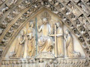 Notre-Dame de Paris cathedral - Carved tympanum of the portal of the Last Judgement (central portal)
